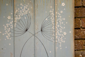 Cow Parsley duck egg blue / sage green reclaimed wooden board painting close up