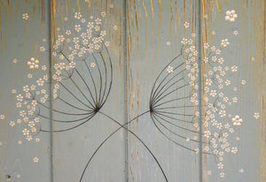 Cow Parsley duck egg blue / sage green reclaimed wooden board painting closer up