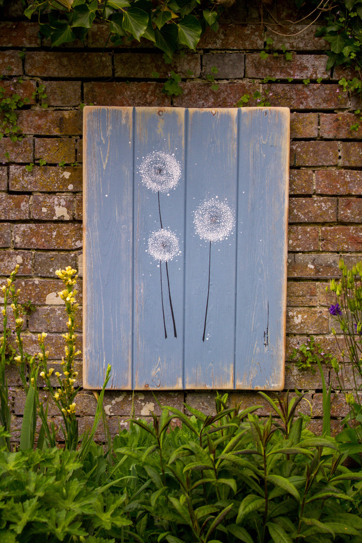 Dandelions soft grey blue / light grey reclaimed wooden boards painting