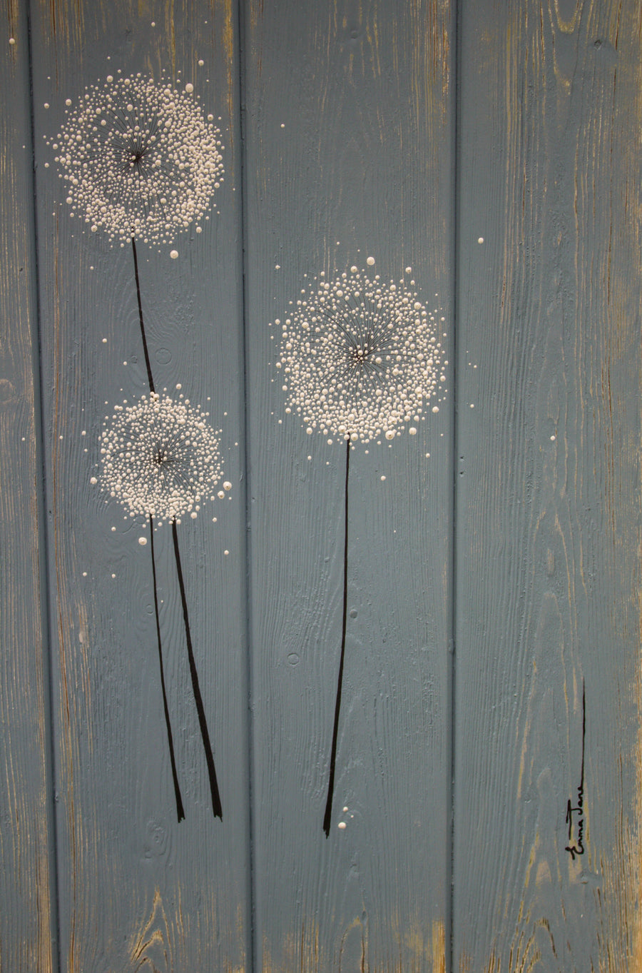 Dandelions soft grey blue / light grey reclaimed wooden boards painting close up