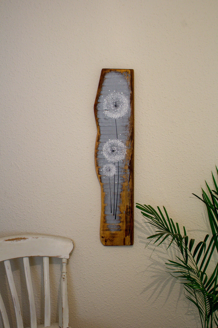 Large Dandelions light grey reclaimed wood painting