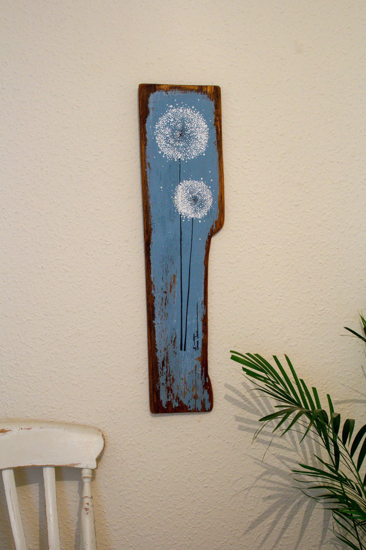 Large Dandelions soft grey / blue reclaimed wood painting