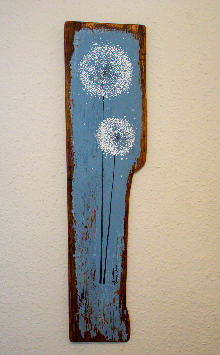 Large Dandelions soft grey / blue reclaimed wood painting close up