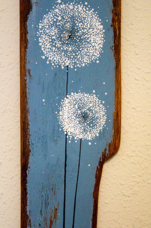 Large Dandelions soft grey / blue reclaimed wood painting closer up