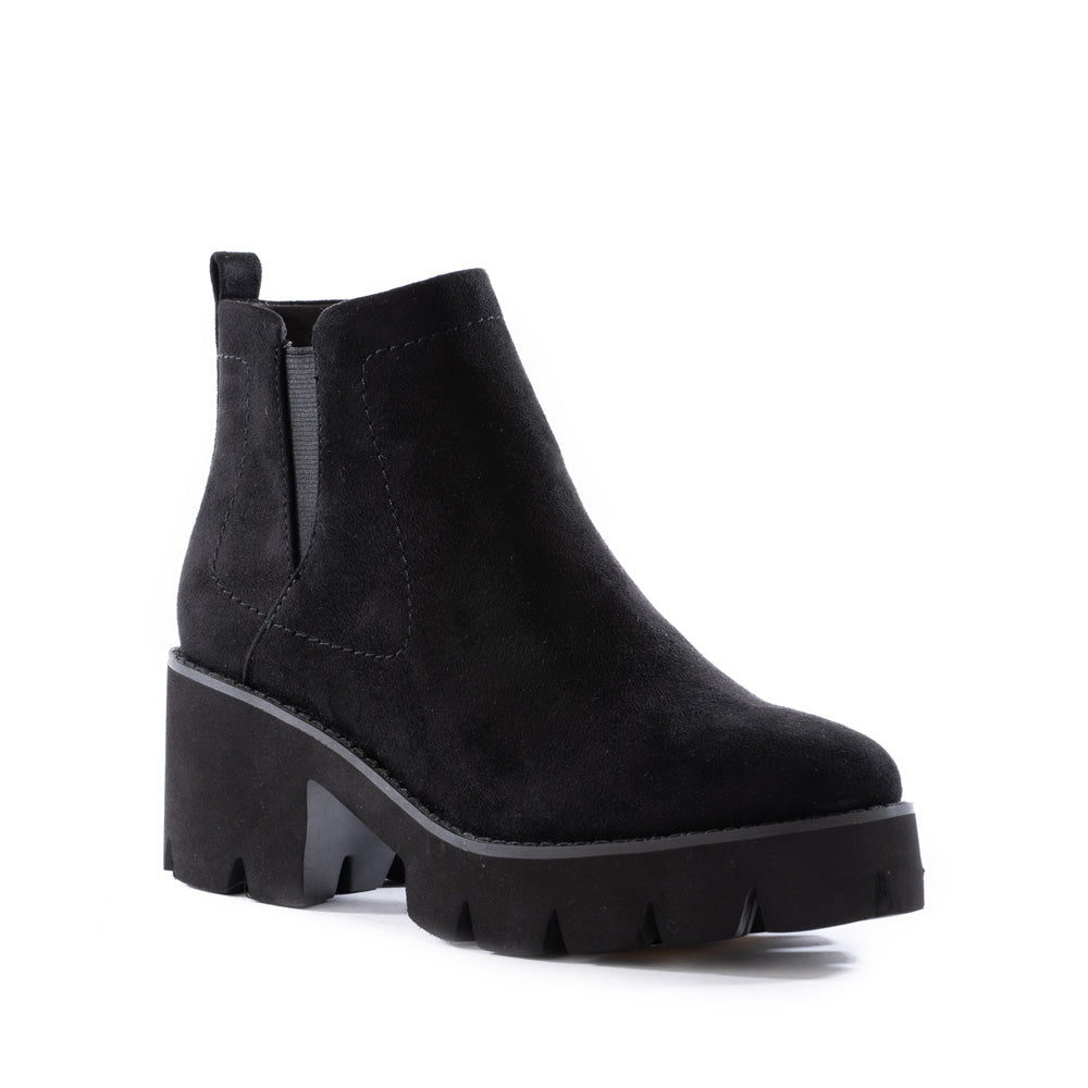 Product image of black vegan suede front