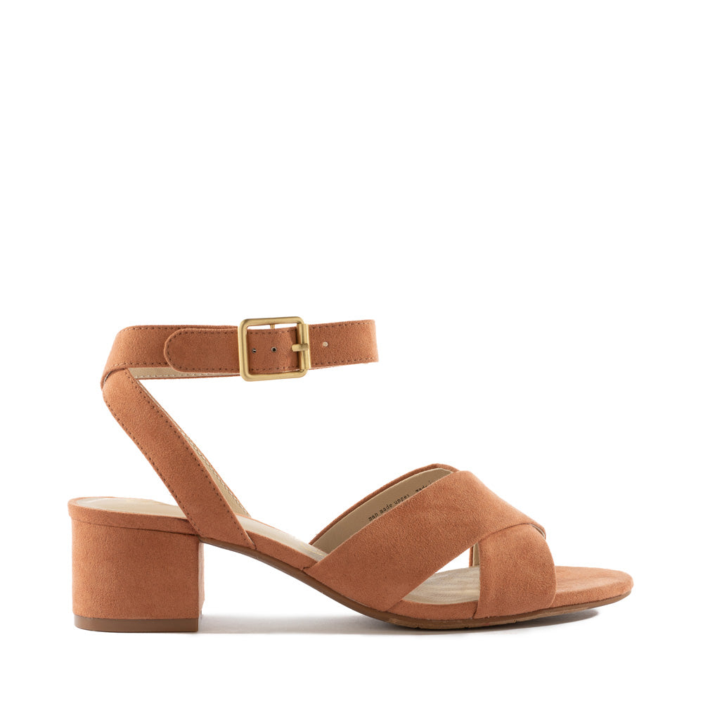 Product image of peach vegan suede side