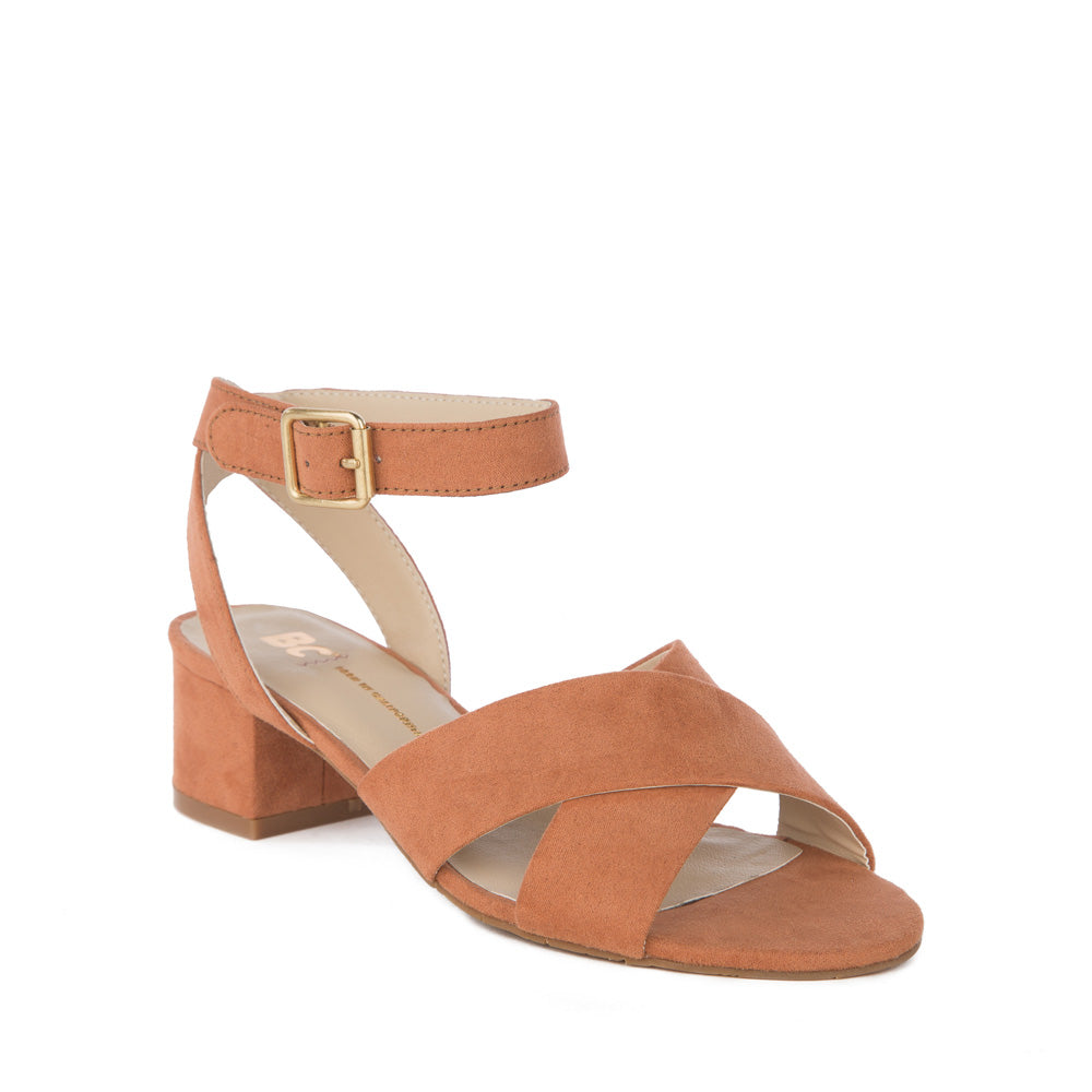 Product image of peach vegan suede front