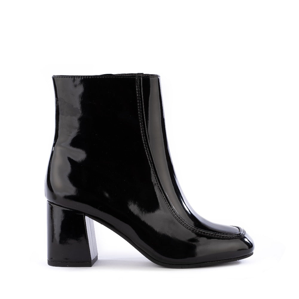 Product image of black vegan patent leather side