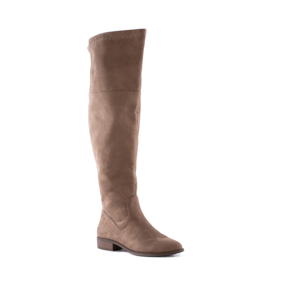 Product image of taupe vegan suede front