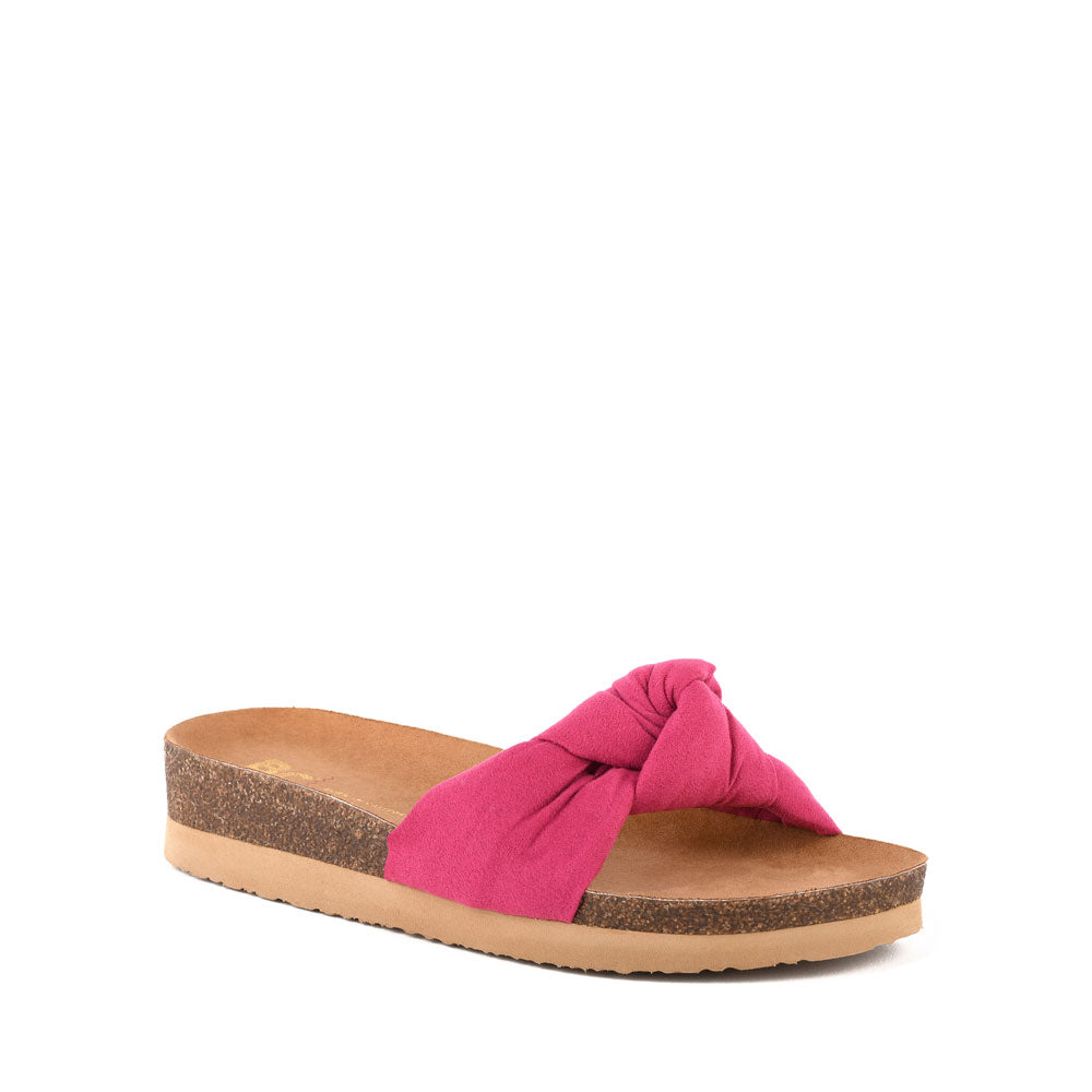 Product image of fuchsia vegan suede front