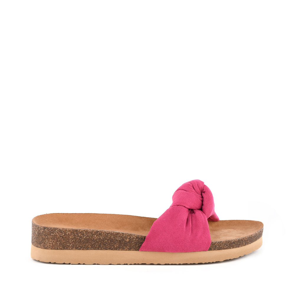 Product image of fuchsia vegan suede side
