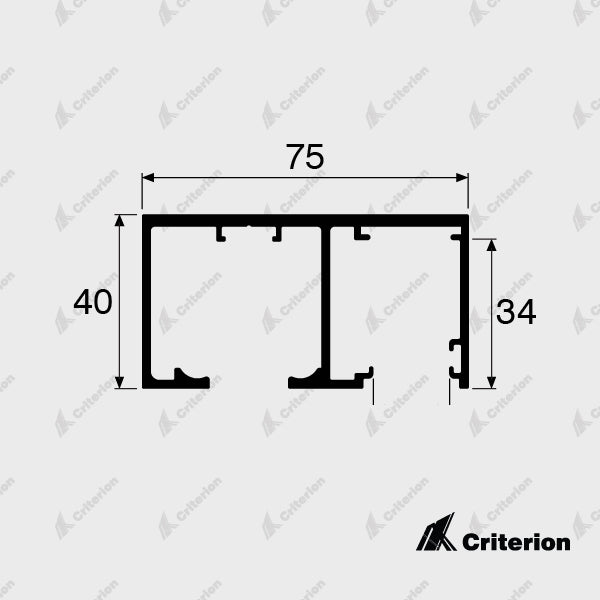 CI-0653 Offset Sliding Track (Top Roller) - Standard - Criterion Industries - office fitouts - australia