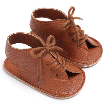 infantfeet Summer Baby Girl Sandal Pu Leather Lace Up Baby Peep Toe Flat Brand Toddler Beach Brown Shoes