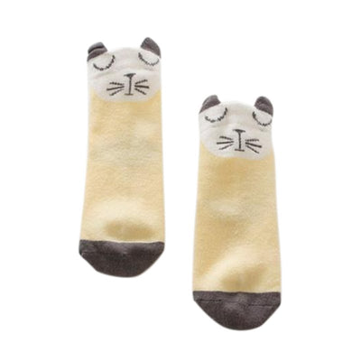 infantfeet Cartoon Newborn Cotton Fox Cat Printed Anti-slip Knee Socks Kids Baby Socks