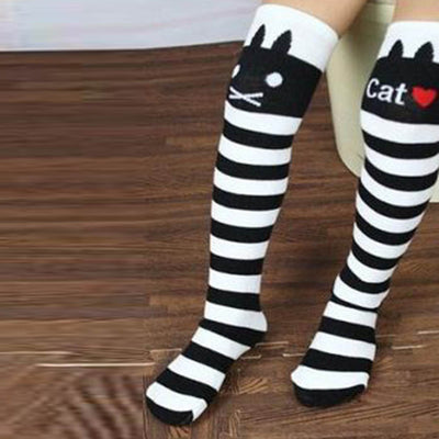 infantfeet 1-8Y Kids Girls Cute Cat Print Striped Socks Thigh High Long Over Knee Socks
