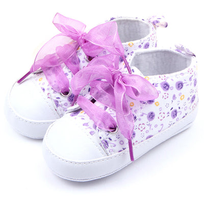 infantfeet Toddler Baby Girls Shoes Floral Soft Sole Lace up Infant Soft Sole First Walker Cotton Shoes