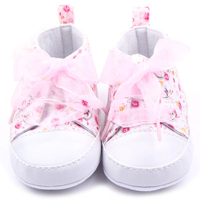 Toddler Baby Girls Shoes Floral Soft Sole Lace up Infant Soft Sole First Walker Cotton Shoes