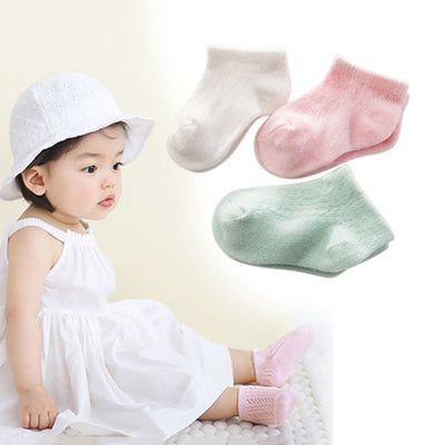 infantfeet Summer Ankle Socks Newborn Soft Baby Socks Toddler Kids Boys Girls Solid Hollow Out Breathable Socks 0-3 Y