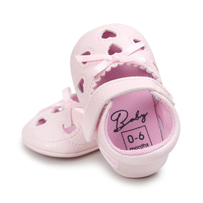 9df351295 Newborn PU Leather Baby Girl First Walkers Shoes Love Hollow ...
