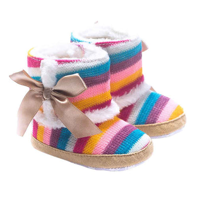 New Arrival Special Offer Baby Girl Striped Fashion Baby Girl Shoes Cotton Rainbow Soft Sole Snow Boots