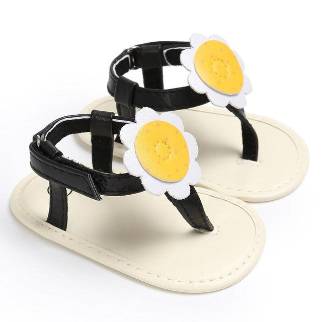 New Design Summer Baby Girl Sandals Shoes PU Leather Rubber Flat Shoes with Big Flowers Princess Baby Shoes Anti-skid Sandals