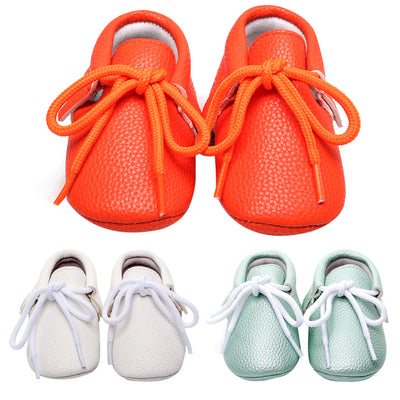 Baby Moccasins for 0 - 24 Months Casual Soft Soled Lace-up Solid
