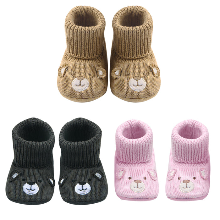 87e80174325c1 Baby Booties Cute Crochet Knit Baby Moccasins Shoes Non-slip Soft Sole  Walking Booties For ...