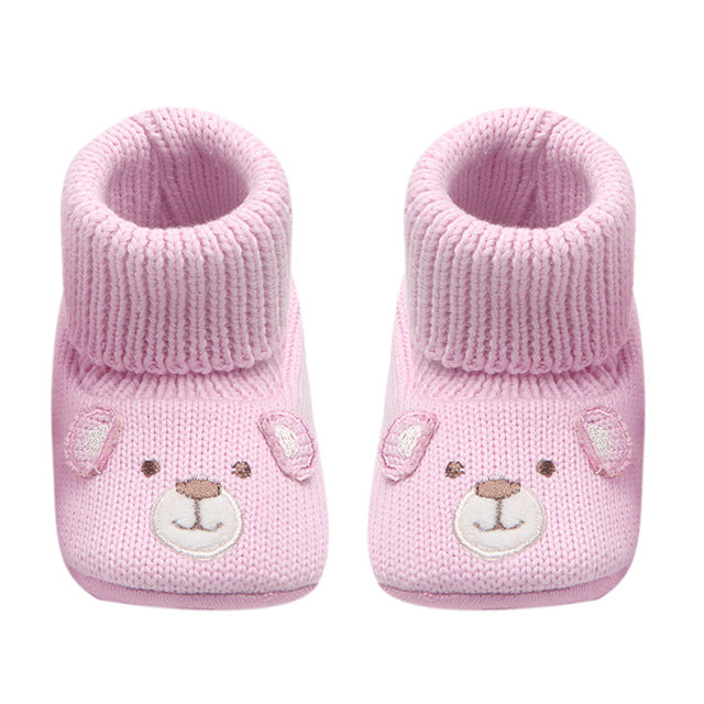 38ede7889cc42 Baby Booties Cute Crochet Knit Baby Moccasins Shoes Non-slip Soft Sole  Walking Booties For