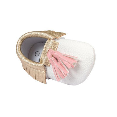 Infant Toddler Baby Girl Tassel Soft Sole Prewalker Shoes  White