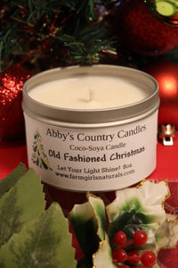 Old Fashioned Christmas Candle - 6oz. Tin with Window Lid