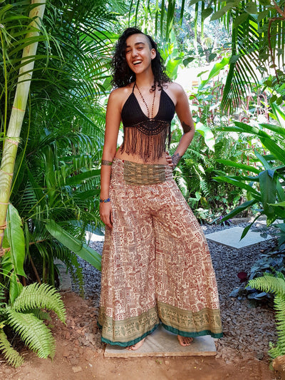 Hippie trousers made from recycled fabrics. Mamma Nomad: Sustainable yet Affordable clothing.