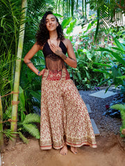 Beautiful boho chic pants made from eco friendly material. Mamma Nomad creates affordable fashion with ethical values and the environment in mind.