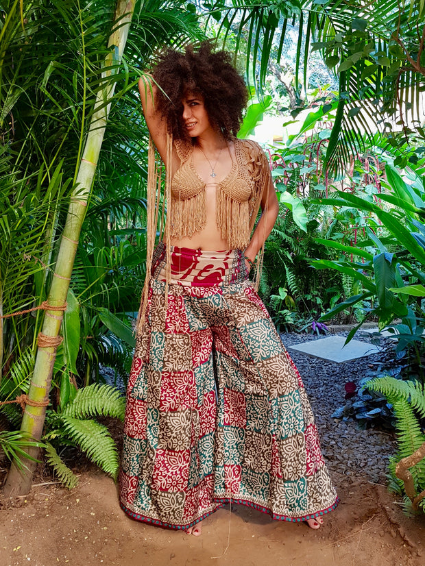Beautiful boho chic pants made from eco friendly material. Mamma Nomad creates affordable fashion with ethical values in mind.