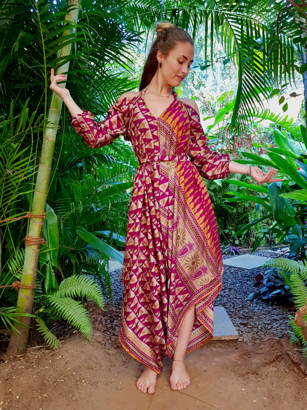 Mamma Nomad creates with ethical values, Earth friendly yet affordable fashion. Beautiful Flowing Gypsy / Bohemian looking Jumpsuit / Dress made from recycled fabrics.