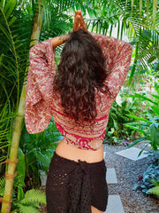 Fashion created with Ethical values that is Environment friendly yet affordable. This beautiful flowey Tie-top is made from recycled fabrics. Mamma Nomad.