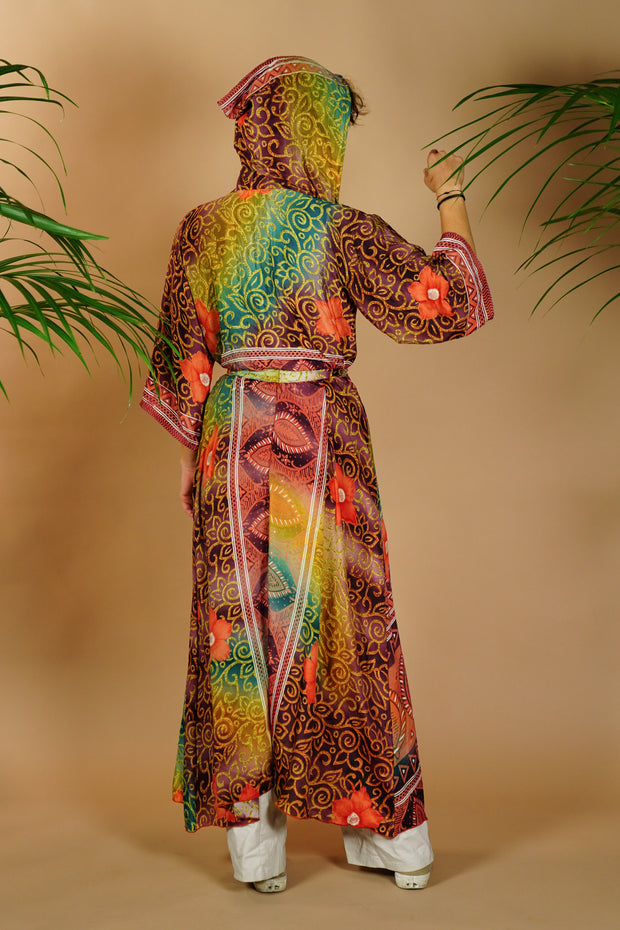 Kimono-inspired Jacket Dress 'Ukiyo' with hood