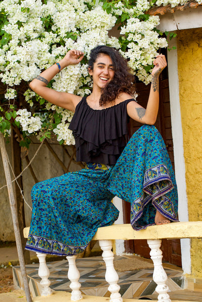 Beautiful Elegant Boho Chic Style pants made from recycled fabric by Mamma Nomad. Eco-friendly Sustainable & Ethical clothing