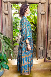 Beautiful Blue Bohemian style Kimono. Flowy and Elegant. Created with Ethical & Eco-friendly values by Mamma Nomad.