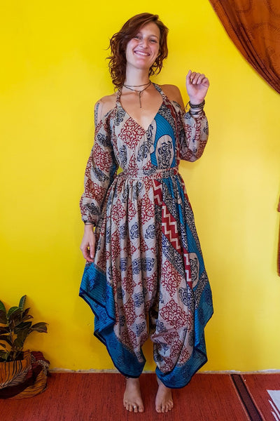 This beautiful gypsy style jumpsuit is made from recycled fabrics. Eco fashion. Elegant and comfortable.  Mamma Nomad makes clothing with Ethical and environment friendly values. Sustainable colorful fashion. Size XS to XXL.