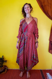 This beautiful bohemian style jumpsuit is made from recycled fabrics. Eco fashion. Elegant and comfortable.  Mamma Nomad makes clothing with Ethical and environment friendly values. Sustainable colorful fashion. Size XS to XXL.