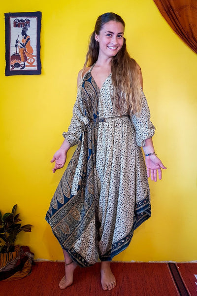 Elegant and comfortable. This beautiful Beige bohemian style jumpsuit is made from recycled fabrics. Sustainable colorful eco fashion. Size XS to XXL.  Mamma Nomad makes clothing with Ethical and environment friendly values.