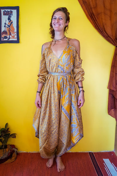Elegant and comfortable. This beautiful Yellow bohemian style jumpsuit is made from recycled fabrics. Sustainable colorful eco fashion. Size XS to XXL.  Mamma Nomad makes clothing with Ethical and environment friendly values.