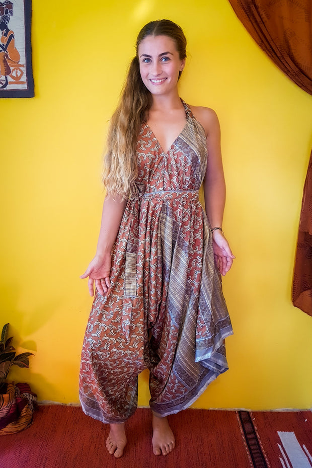 Elegant and comfortable. This beautiful Orange, Brown bohemian style jumpsuit is made from recycled fabrics. Sustainable colorful eco fashion. Size XS to XXL.  Mamma Nomad makes clothing with Ethical and environment friendly values.