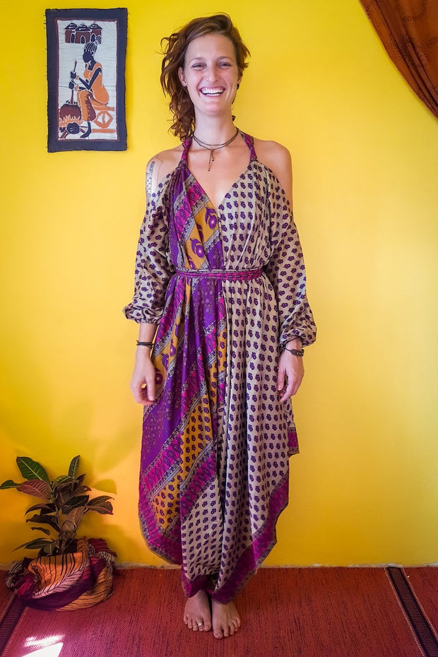 Elegant and comfortable. This beautiful Beige, Purple bohemian style jumpsuit is made from recycled fabrics. Sustainable colorful eco fashion. Size XS to XXL.  Mamma Nomad makes clothing with Ethical and environment friendly values.