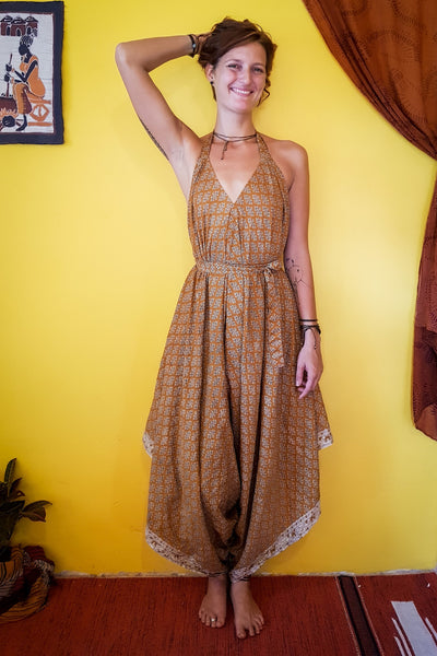 Elegant and comfortable. This beautiful Orange bohemian style jumpsuit is made from recycled fabrics. Sustainable colorful eco fashion. Size XS to XXL.  Mamma Nomad makes clothing with Ethical and environment friendly values.