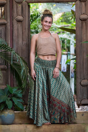 Beautiful Bohemian flowey pants that look like a skirt! All our clothing is made from recycled fabrics. We create by ethical & environment friendly values.  Mama Nomad
