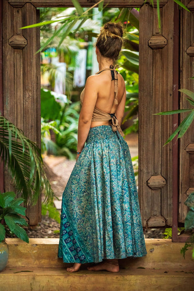 Mama Nomad makes these garments from recycled fabrics. Beautiful gypsy flowey pants that look like a skirt! We create the clothing with environment & ethical friendly values.