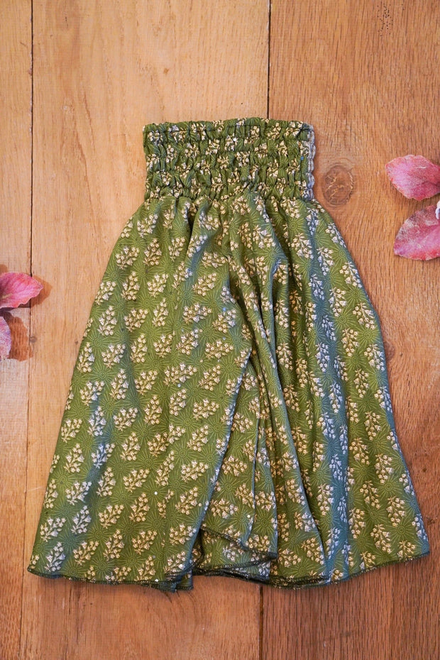 Eco-friendly,  Little bohemian baby trousers made from recycled fabrics.  Mamma Nomad: Sustainable yet affordable children's clothing.