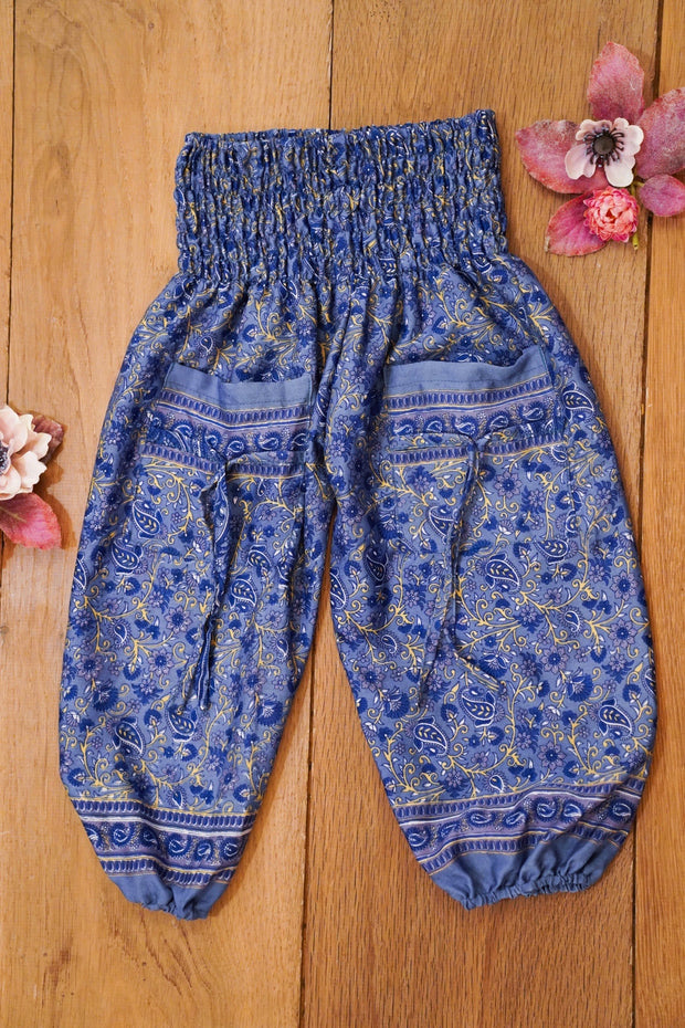 Environment friendly,  Little bohemian harem pants made from recycled fabrics.  Mamma Nomad: Sustainable yet affordable children's fashion.