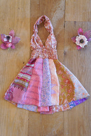 Little bohemian baby dress, made from recycled fabrics. Mamma Nomad: Sustainable yet affordable children's clothing.